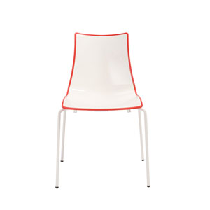 Zebra Stacking Side Chair in White with Red Trimming
