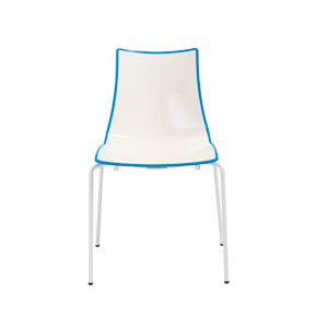 Zebra Stacking Side Chair in White with Blue Trimming