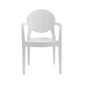 Igloo Stacking Arm Chair in Glossy White - Set of 4