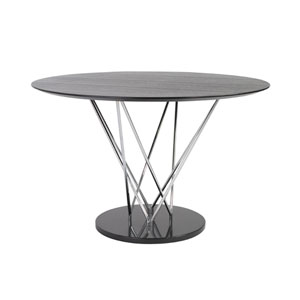 Stacy Oval Dining Table Top in Ebony with Chromed Column and Black Marble Base