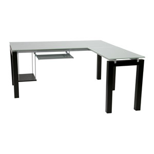Ballard L Desk in Wenge with Silver Printed Glass Top
