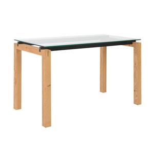 Ballard Desk in Oak with Clear Glass Top