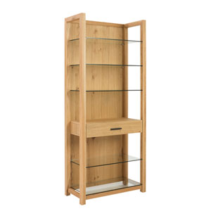 Ballard 5 Shelf Unit in Oak with Clear Glass