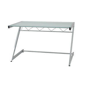 Z Frosted Glass Deluxe Medium Desk with Shelf
