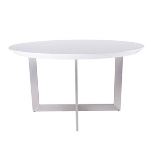 Tosca 54-inch Round Dining Table in High Gloss White with Brushed Stainless Steel Base