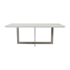 Tosca Rectangle Dining Table in White with Brushed Stainless Steel Base