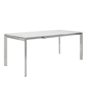 Earlene Rectangle Extension Table in White with Polished Stainless Steel Legs