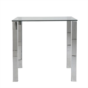 Beth Rectangle Bar Table with Clear Tempered Glass Top with Polished Stainless Steel Legs