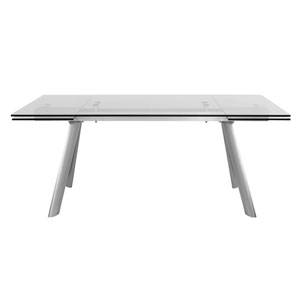 Delano 102.5-inch Rectangle Extension Table with Clear Tempered Glass Top and Brushed Stainless Steel Legs