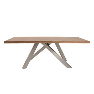 Dacy Rectangle Dining Table in American Walnut with Brushed Stainless Steel Base