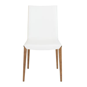 Maricella Dining Chair in White with Walnut Legs - Set of 2