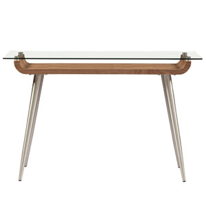 Esmoriz 48-inch Console Table in American Walnut with Clear Tempered Glass Top and Brushed Stainless Steel Legs