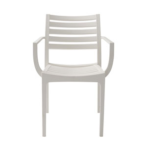 Morrow Stacking Arm Chair in White Polypropylene - Set of 4