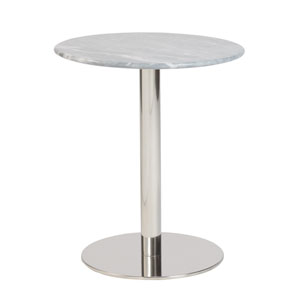 Tammy Round Side Table in Gray Marble with Polished Stainless Steel Base
