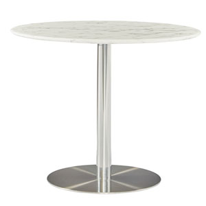 Tammy 37-inch Round Dining Table with White Marble Marquina Top and Polished Stainless Steel Base