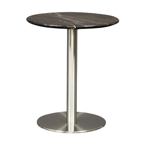 Tammy Round Side Table in Black Marble with Brushed Stainless Steel Base
