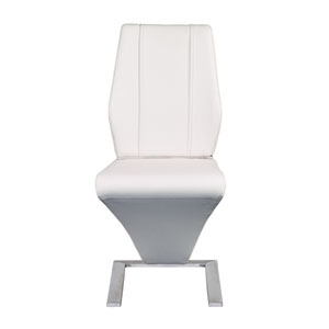 Formosa Side Chair in White and Brushed Stainless Steel - Set of 2