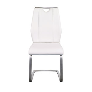 Lexington Side Chair in White and Brushed Stainless Steel - Set of 2