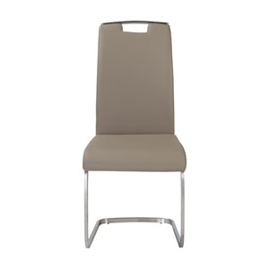 Karl Side Chair in Taupe and Brushed Stainless Steel - Set of 4