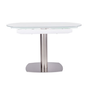 Domingo 71 Inch Extension Table In White Tempered Gl With Brushed Nickel Column And