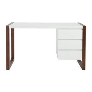 Manon Desk in Matte White with Dark Walnut Finish - Two Drawers