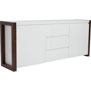 Manon Sideboard in Matte White and Dark Walnut
