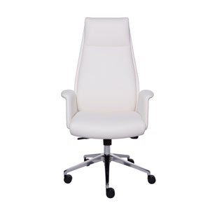 Ilaria High Back Office Chair in White and Polished Aluminum
