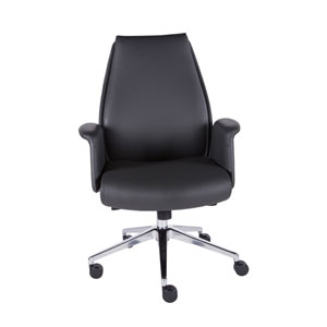 Ilaria Low Back Office Chair in Dark Gray and Polished Aluminum