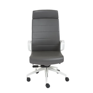 Gotan Powder Coated High Back Office Chair in Gray with White Base