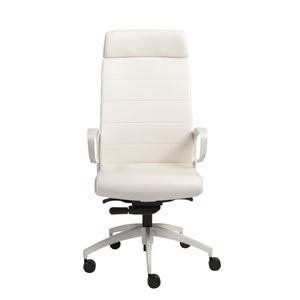Gotan Powder Coated High Back Office Chair in White with White Base
