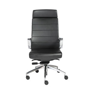 Gotan High Back Office Chair in Black with Polished Aluminum Base