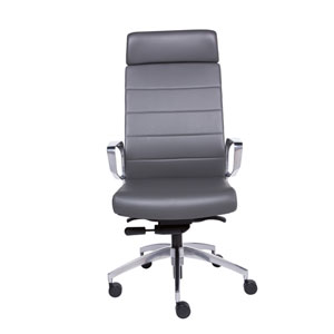 Gotan High Back Office Chair in Gray with Polished Aluminum Base