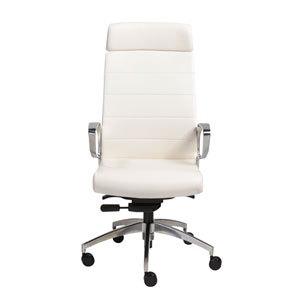 Gotan High Back Office Chair in White with Polished Aluminum Base