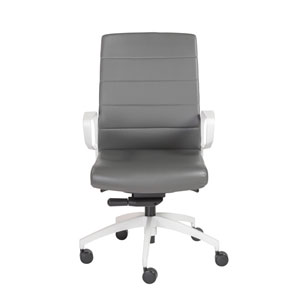 Gotan Powder Coated Low Back Office Chair in Gray with White Base