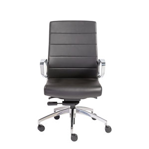 Gotan Low Back Office Chair in Black with Polished Aluminum Base