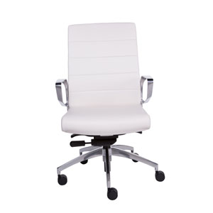 Gotan Low Back Office Chair in White with Polished Aluminum Base