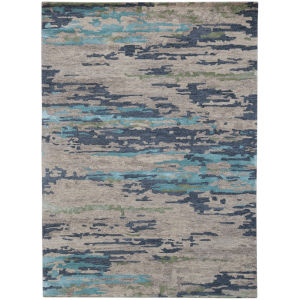 Abstract Beige Wool Rectangle 5 Ft. x 8 Ft. Rug