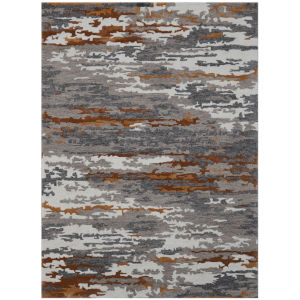 Abstract Gray Wool Rectangle 8 Ft. x 10 Ft. Rug
