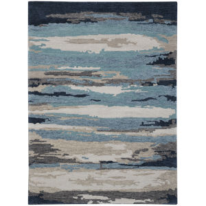 Abstract Blue Wool Rectangle 8 Ft. x 10 Ft. Rug