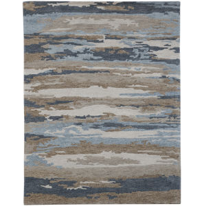 Abstract Beige Rectangle 5 Ft. x 8 Ft. Rug