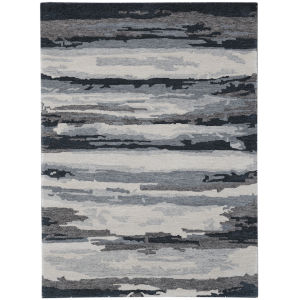 Abstract Gray Rectangle 8 Ft. x 10 Ft. Rug
