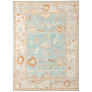 Bohemian Light Blue Polypropylene Rectangle 8 Ft. 9 In. x 11 Ft. 9 In. Rug