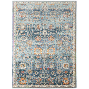 Bohemian Blue Polypropylene Turkey Rectangle 7 Ft. 9 In. x 9 Ft. 9 In. Rug