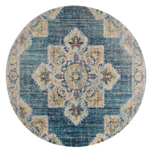 Eternal Turquoise Blue Round 6 Ft. 7 In. x 6 Ft. 7 In. Rug