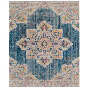 Eternal Turquoise Blue Rectangle 7 Ft. 6 In. x 9 Ft. 6 In. Rug