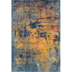 Manhattan Orange Navy Rectangular: 5 Ft. 3 In. x 7 Ft. 6 In. Rug
