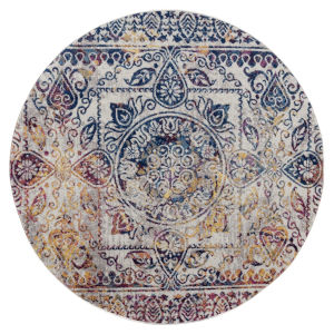 Manhattan Multi-colored Round: 6 Ft. 6 In. x 6 Ft. 6 In. Rug