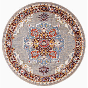 Sanya Maroon Blue Round: 6 Ft. 7 In. x 6 Ft. 7 In. Rug