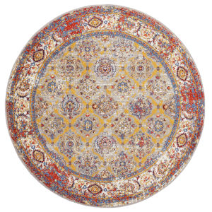 Sanya Multicolor Round: 6 Ft. 7 In. x 6 Ft. 7 In. Rug