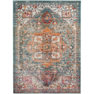 Xavier Teal Rectangle 7 Ft. 3 In. x 9 Ft. 2 In. Rug